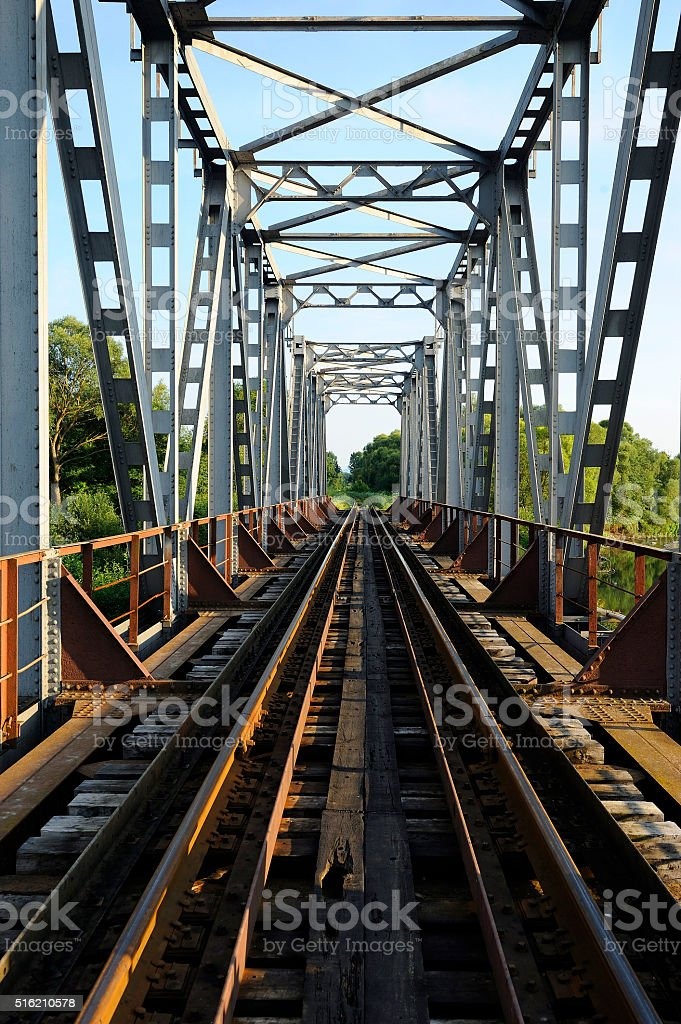 Summer, railway bridge, view from within, the trees. stock photo