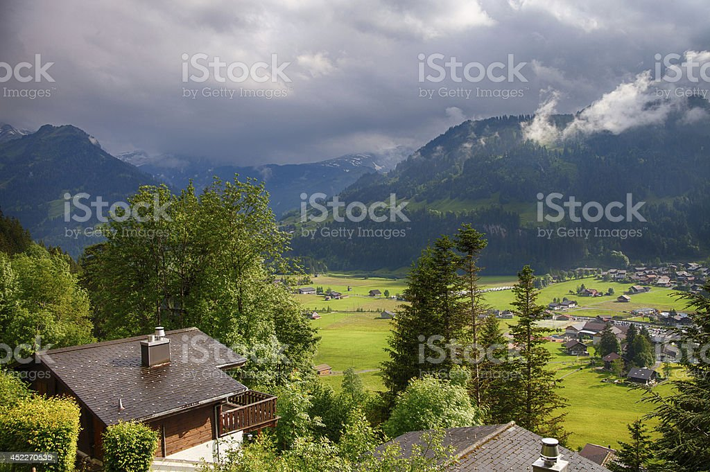 Summer Rain Showers, Evening, Swiss Alps, HDR stock photo