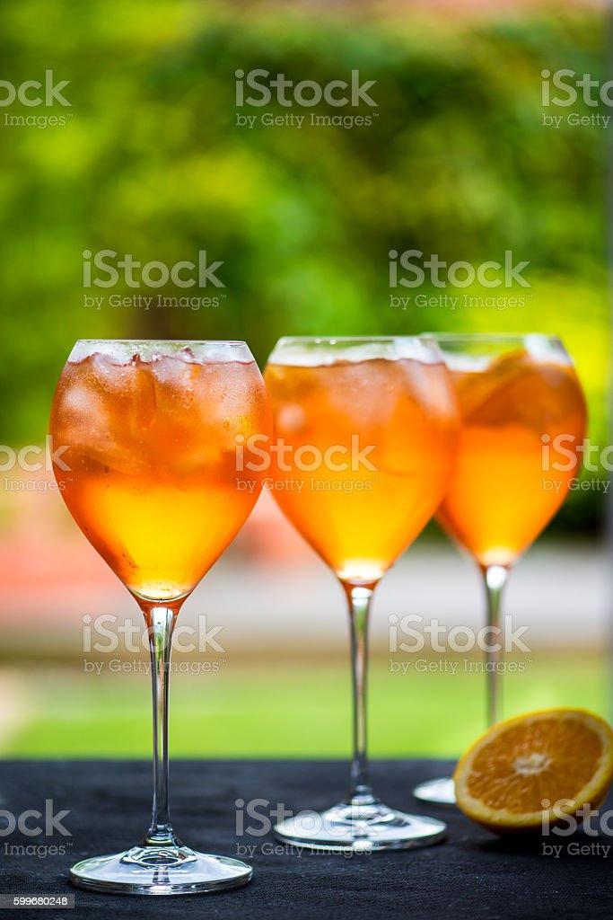 Summer Refreshing Aperitif Drink Aperol Spritz stock photo
