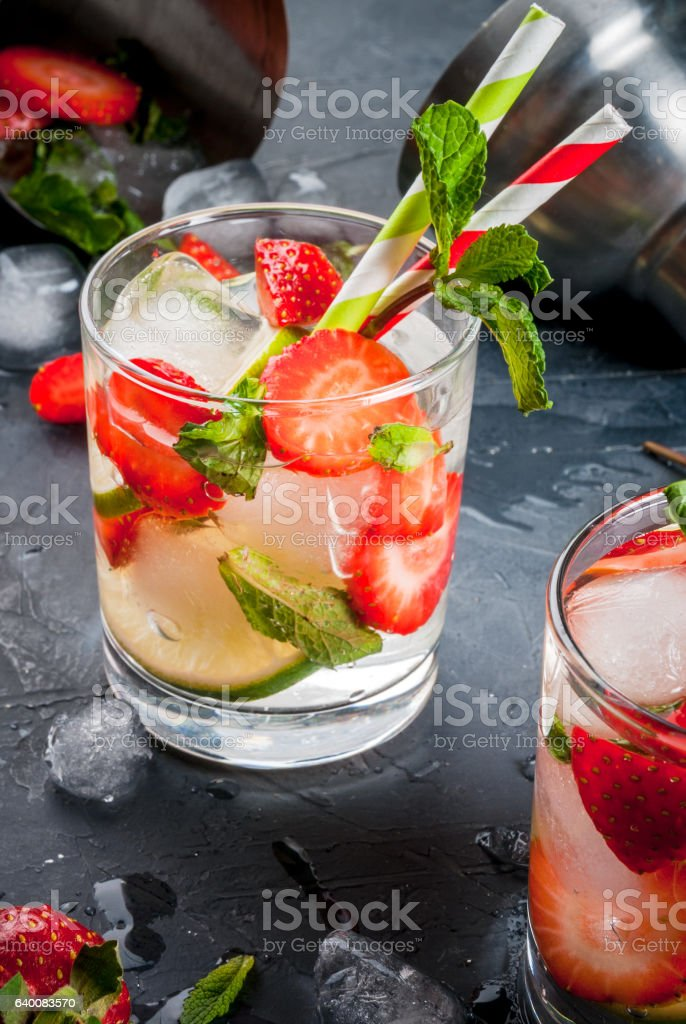 Summer refreshing mojito with strawberry stock photo