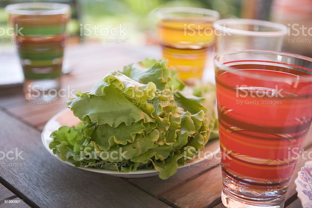 Summer refreshment cocktails with fresh lettuce royalty-free stock photo