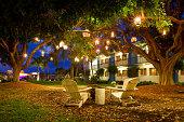 Summer Resort Garden Lanterns and Chairs