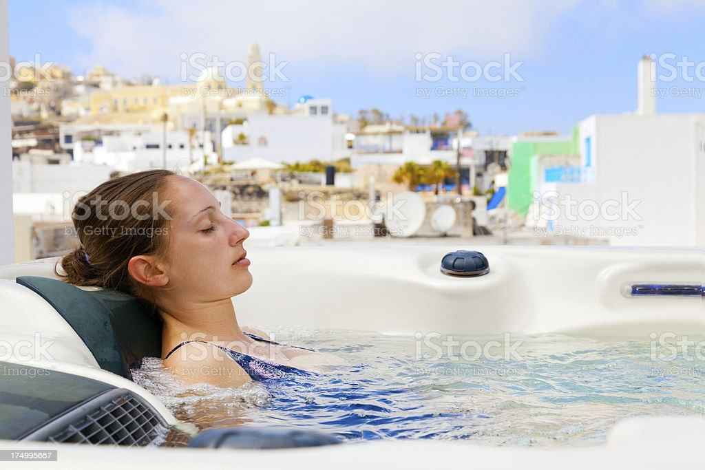 Summer resort in Fira, Santorini royalty-free stock photo