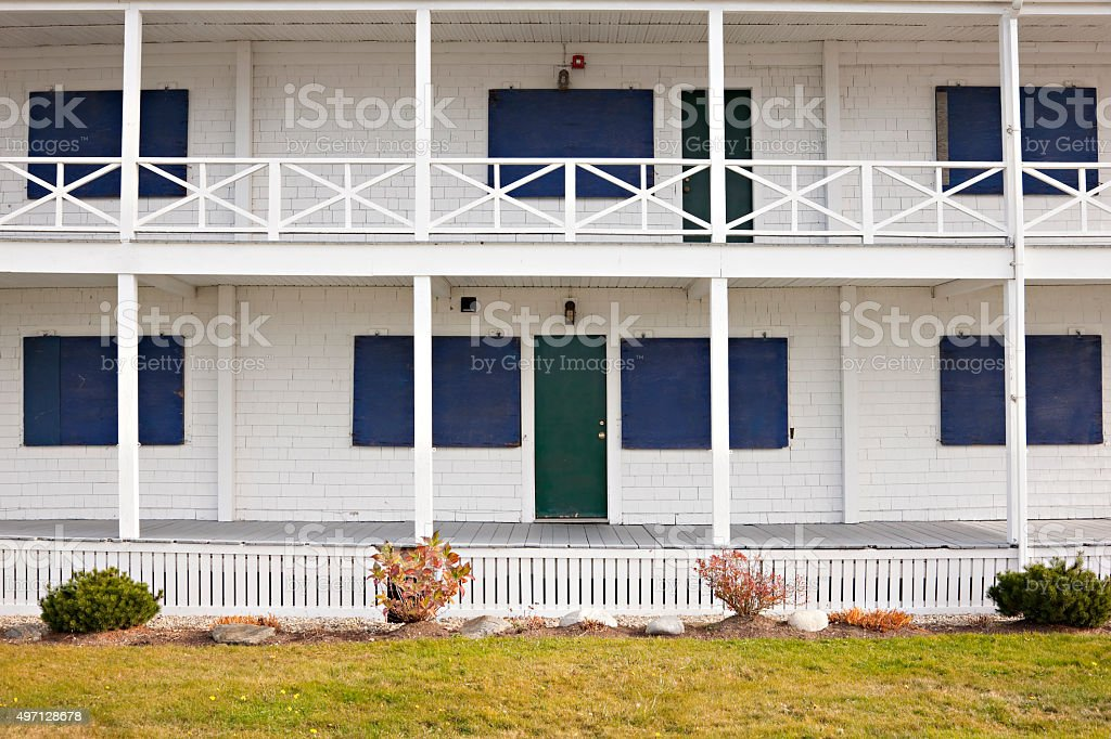 Summer resorts is closed for winter season stock photo