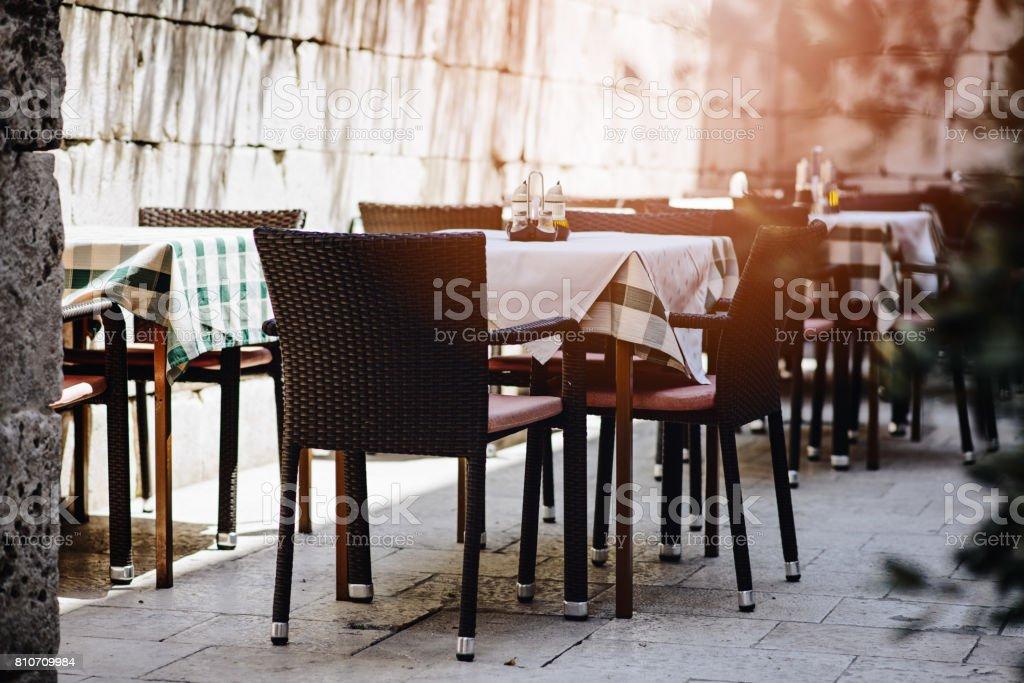 Summer restaurant table outdoor. Split, Dalmatia, Croatia
