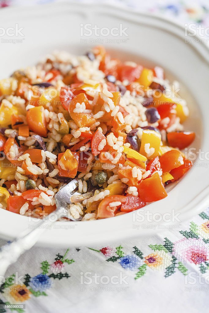Summer Rice Salad with Fresh Vegetables royalty-free stock photo
