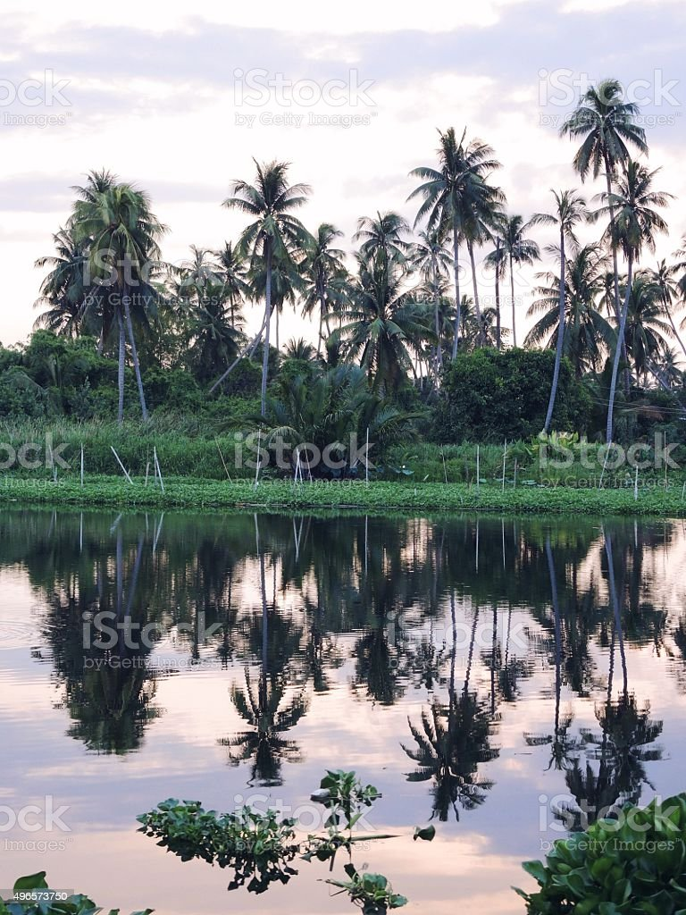 Summer river with bright blue sky and clouds stock photo