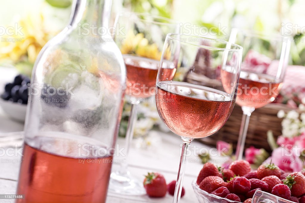 Summer Rose Wine stock photo