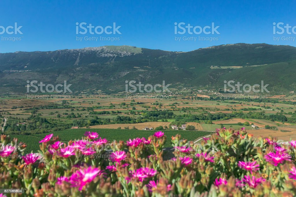Summer rural green valley landscape with mountains in Italian Abruzzo stock photo