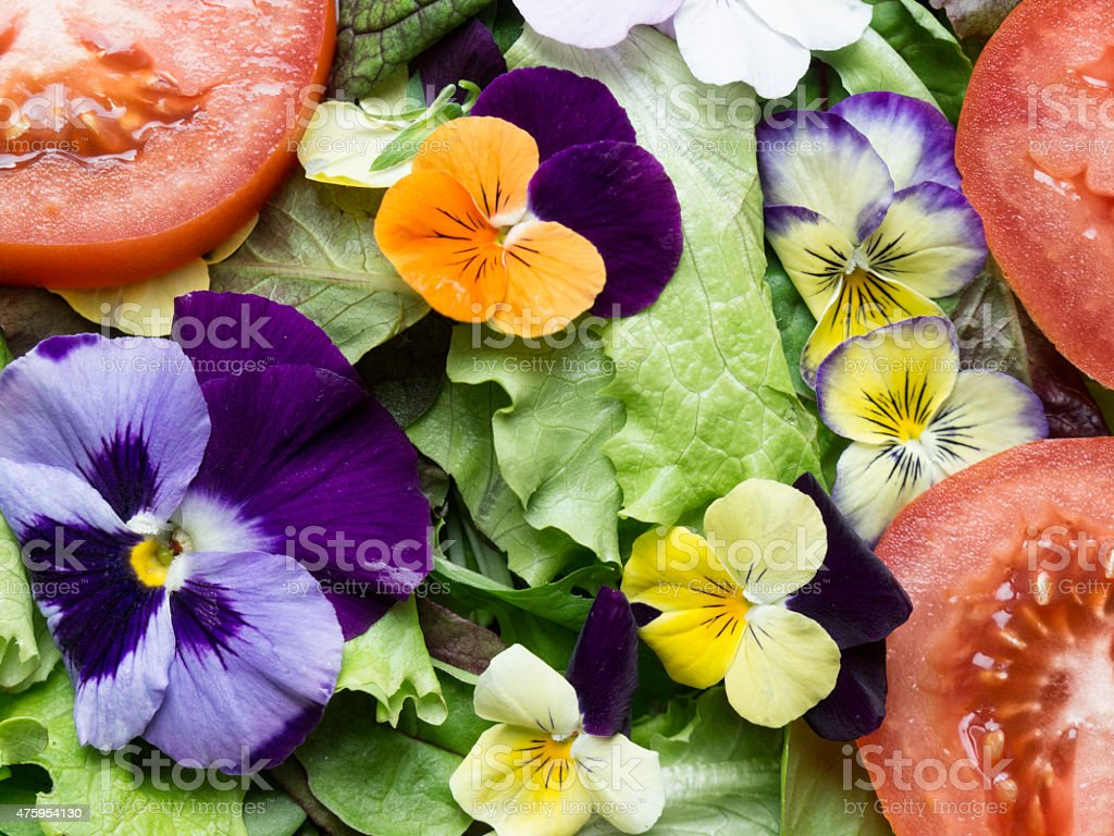 Summer salad with lettuce, tomatoes and flowers stock photo