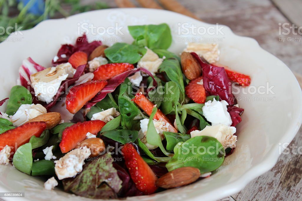 Summer salad with strawberries stock photo