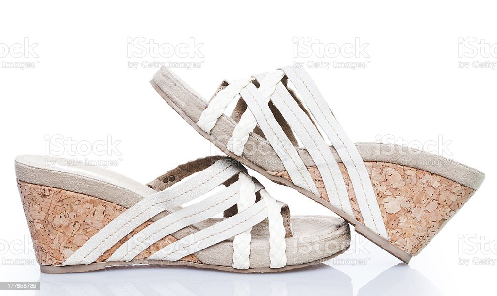 Summer sandals on cork base royalty-free stock photo