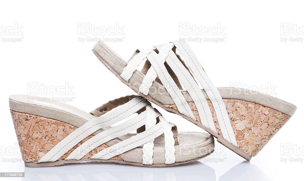 Summer sandals on cork base stock photo