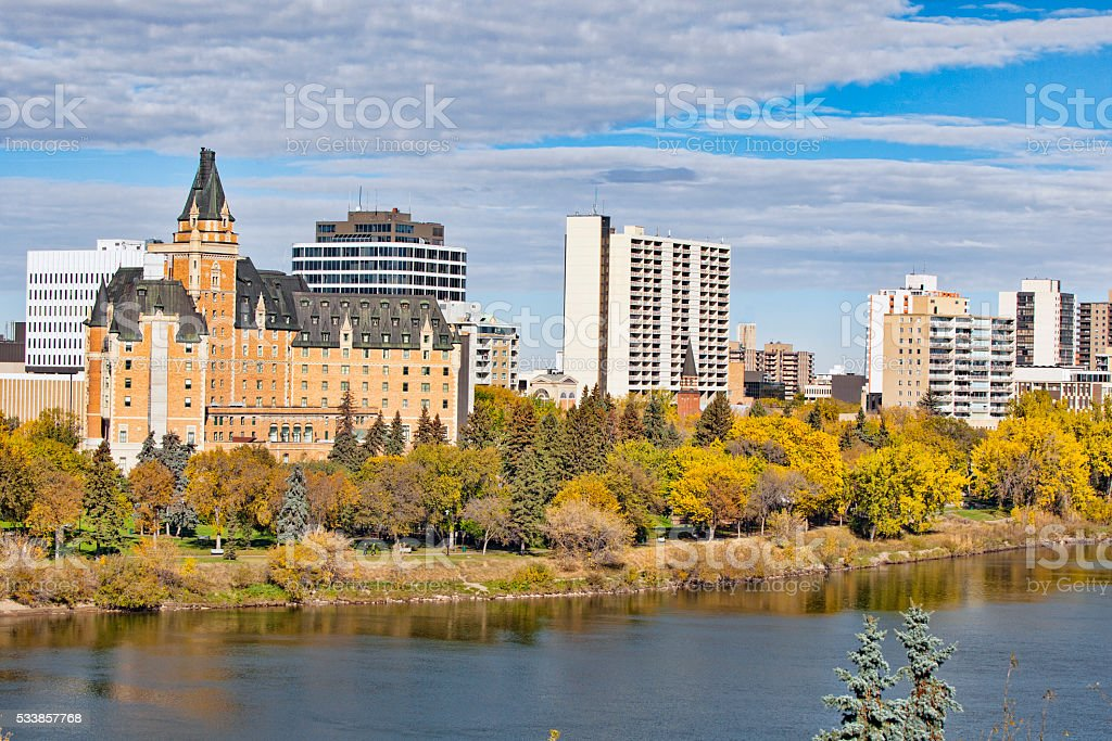Summer Saskatoon Skyline stock photo