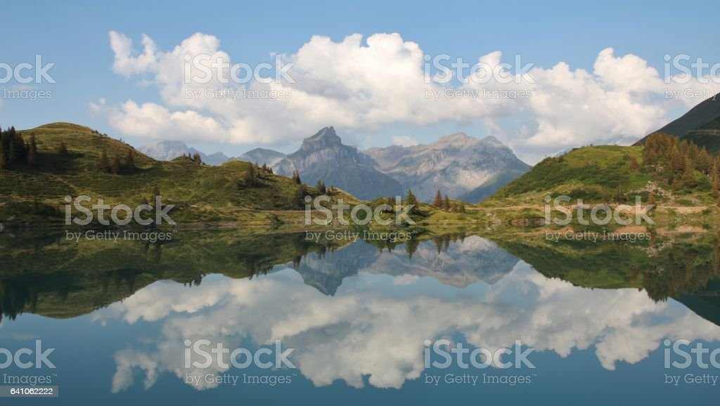 Summer scene at lake Trubsee stock photo