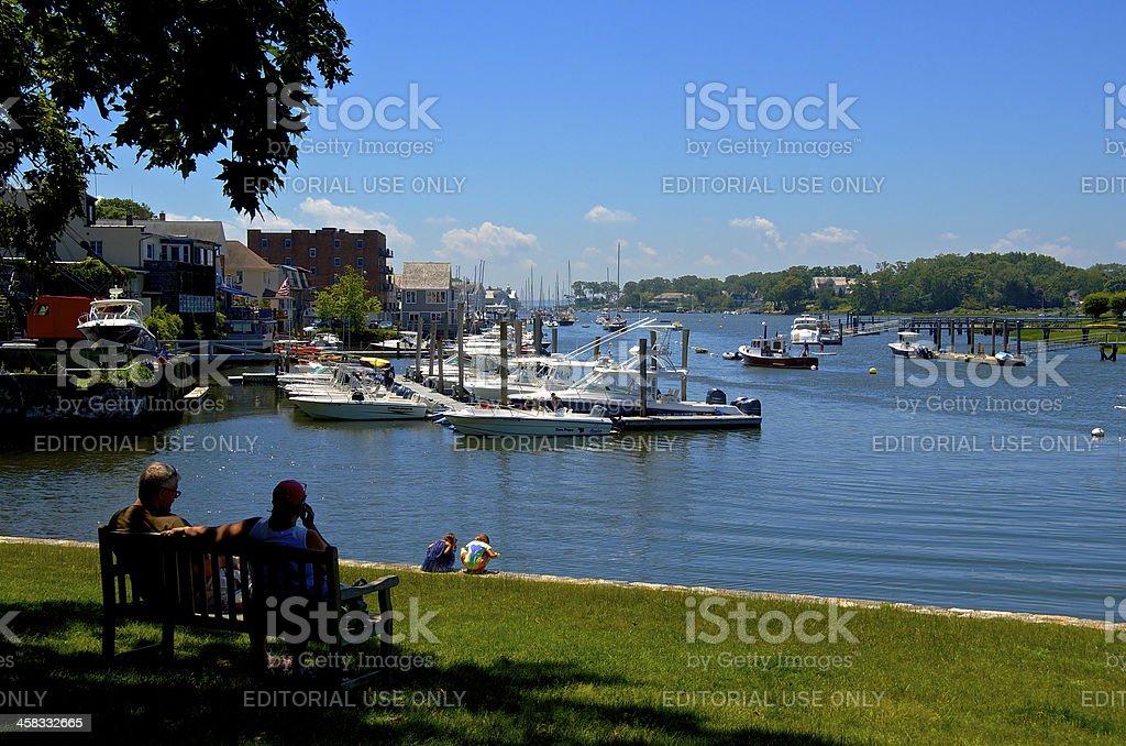 Summer Scene, Children at shoreline, Connecticut, New England, USA royalty-free stock photo