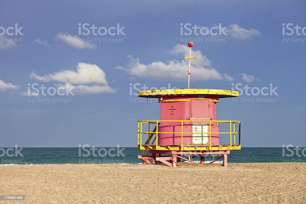 Summer scene in Miami Beach Florida,  colorful lifeguard house stock photo