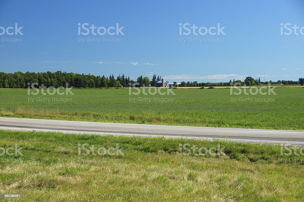 Summer scene in Ontario countryside road near London stock photo