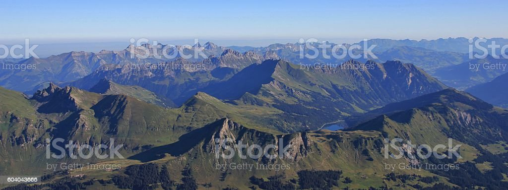 Summer scene in the Swiss Alps, view from Sex Rouge stock photo