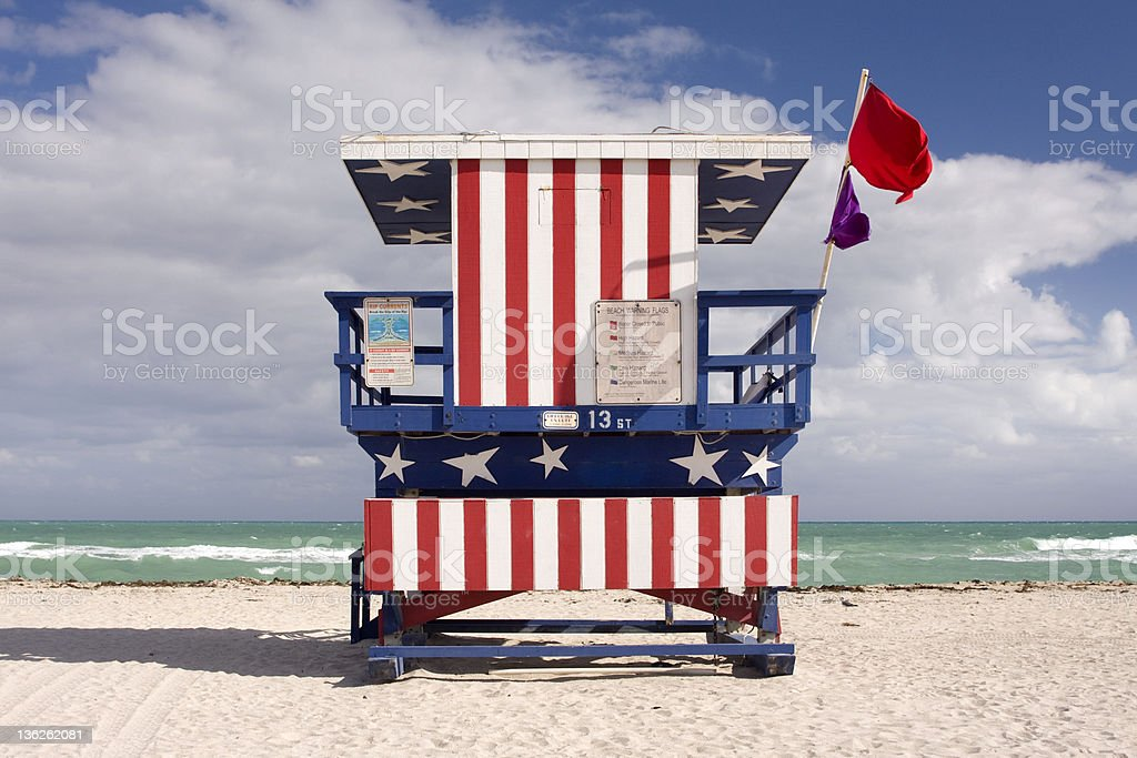 Summer scene with a lifeguard house in Miami Beach, Florida royalty-free stock photo