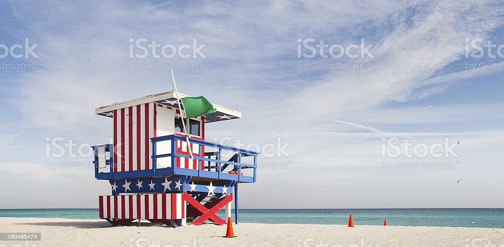 Summer scene with a lifeguard house in Miami Beach, Florida stock photo