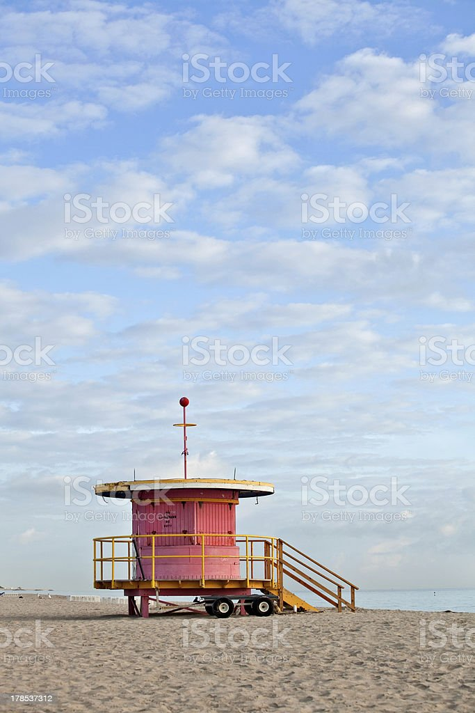 Summer scene with lifeguard house in Miami royalty-free stock photo