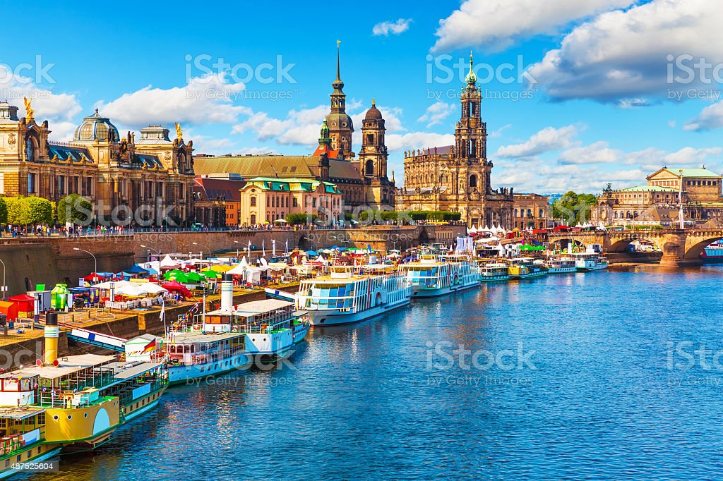 Summer scenery of the Old Town in Dresden, Germany stock photo