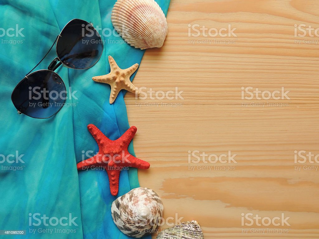 Summer sea composition on wooden background. stock photo