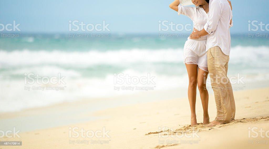 Summer sea couple stock photo