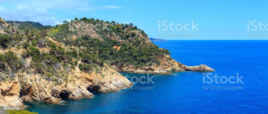 Summer sea rocky coast view (Spain). stock photo