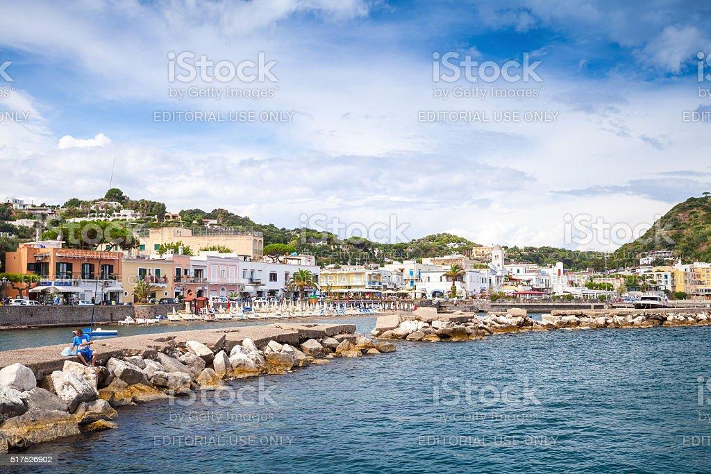 Summer seaside view of Lacco Ameno, Ischia stock photo