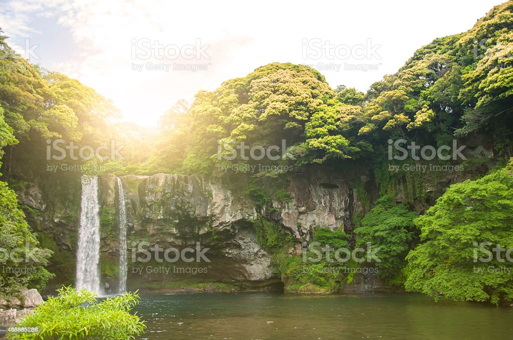 Summer Season of Cheonjiyeon Waterfall on Jeju Island, South Kor stock photo