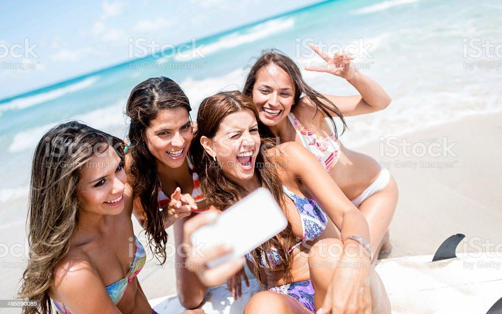 Summer selfie stock photo