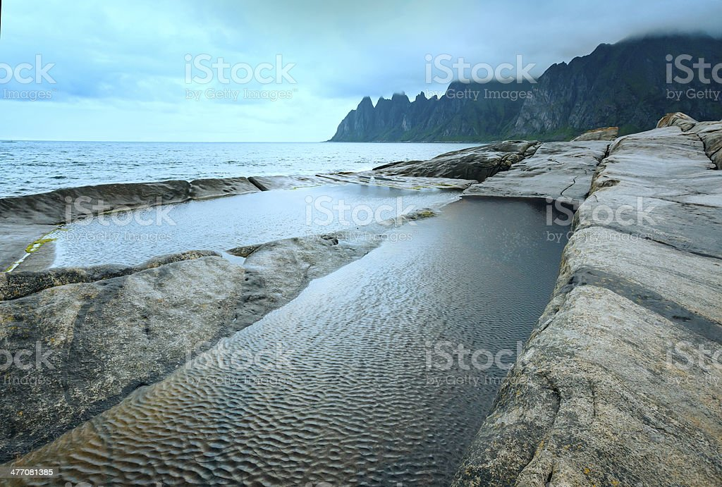 Summer Senja coast (Jagged Ersfjord, Norway, polar ) stock photo