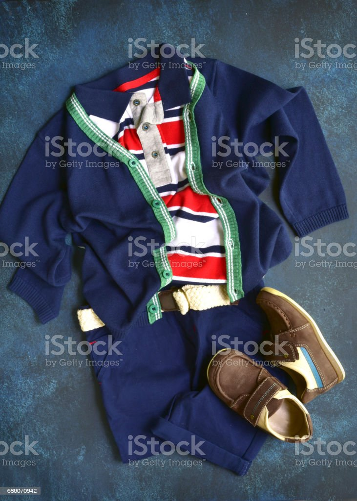 Summer set boys clothes in marine style stock photo