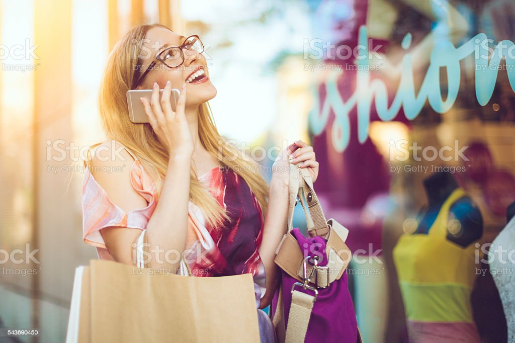 Summer shopping in the city stock photo