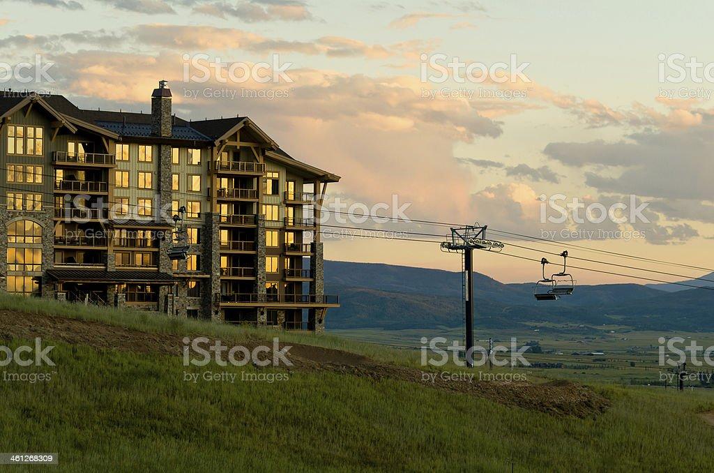Summer Ski Lift at Sunset stock photo