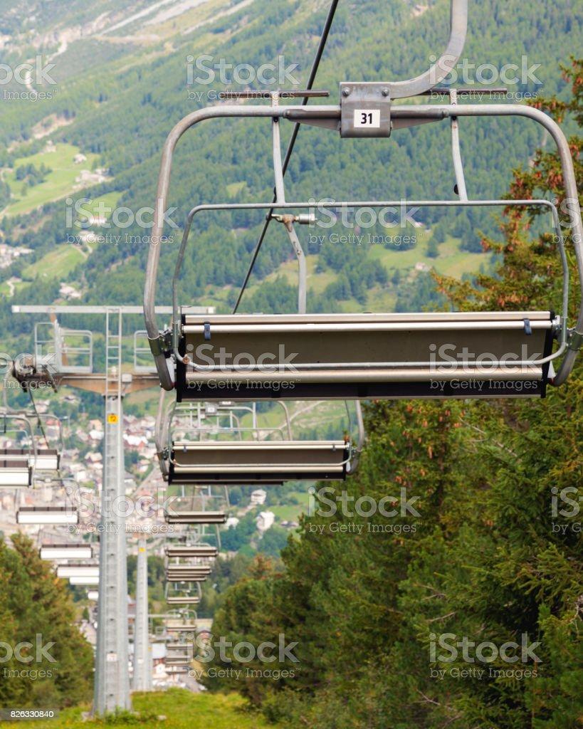 Summer skilift. Color image stock photo
