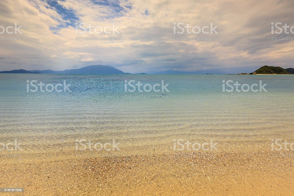 Summer sky and beautiful beach of Khanh Hoa province stock photo