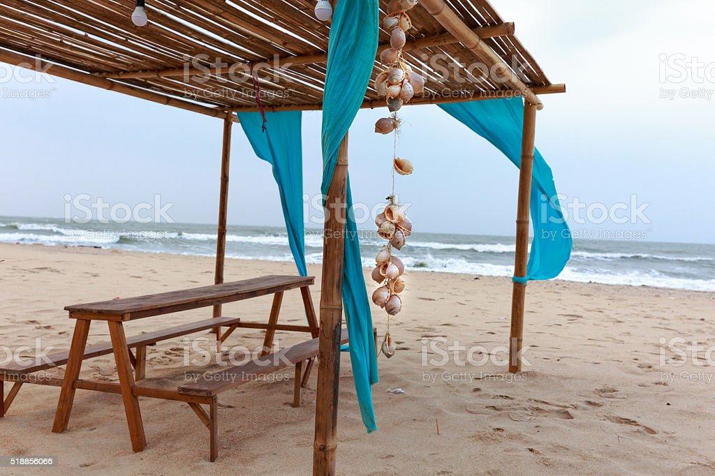 Summer sky and beautiful beach with hanging seashells stock photo