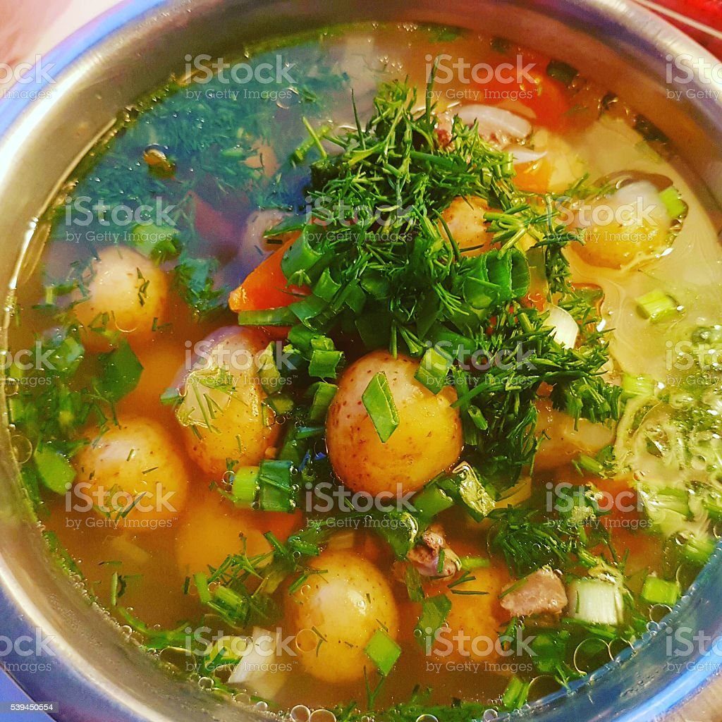 Summer soup, ckose-up stock photo