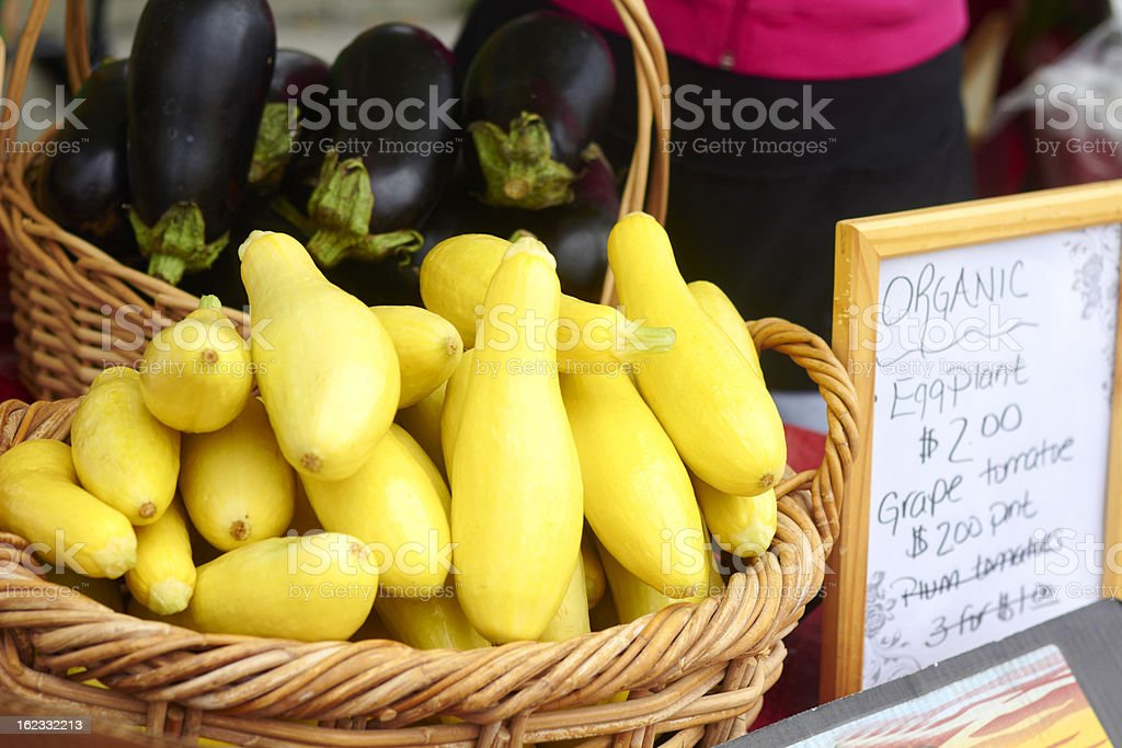 Summer Squash In Basket For Sale royalty-free stock photo