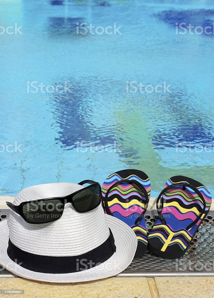 summer still life by the pool stock photo