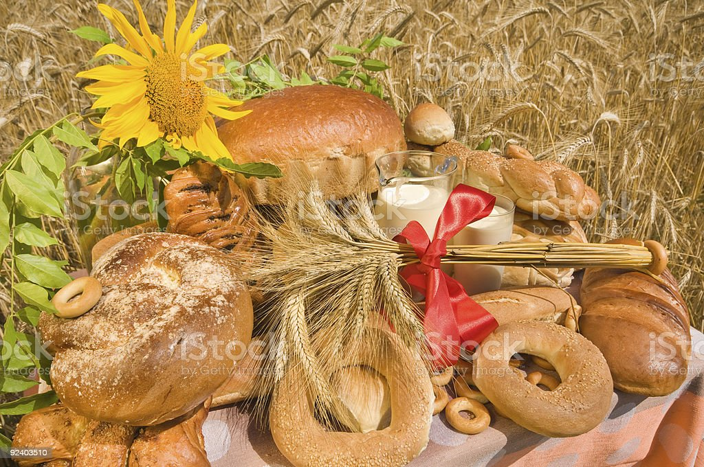 Summer still-life with bread royalty-free stock photo