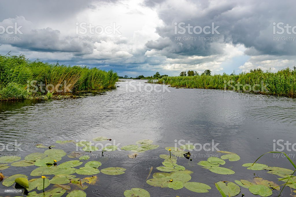 Summer storm clouds over a nature reserve stock photo