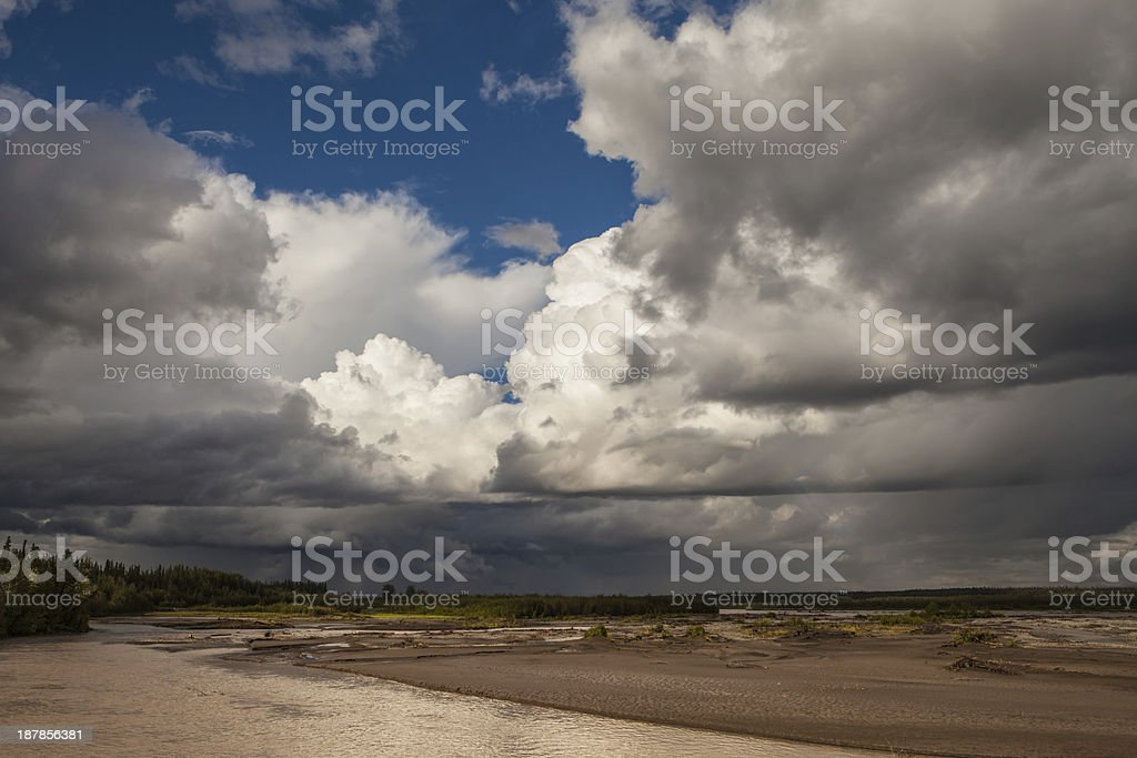 Summer Storm on the Copper River stock photo