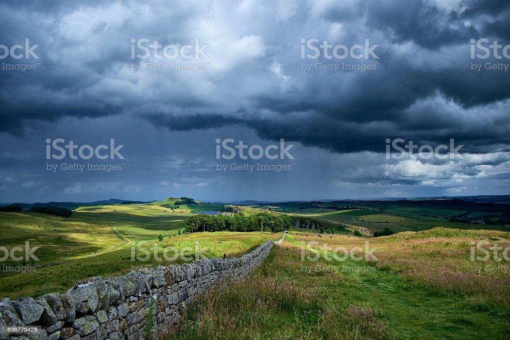 Summer Storm Over Hadrian's Wall stock photo