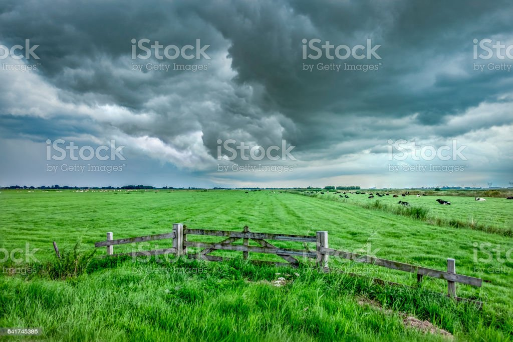 Summer storm over the meadows stock photo