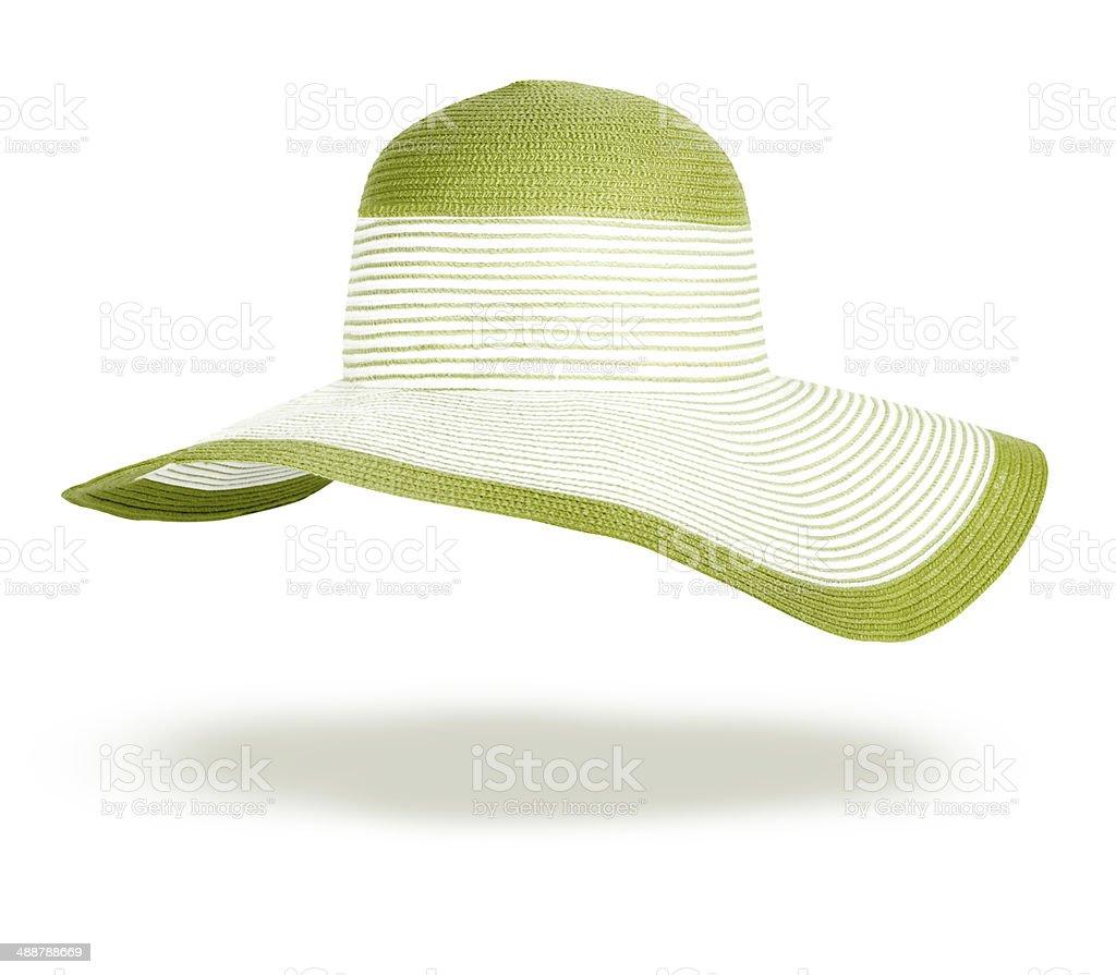 Summer straw hat isolated on white background stock photo