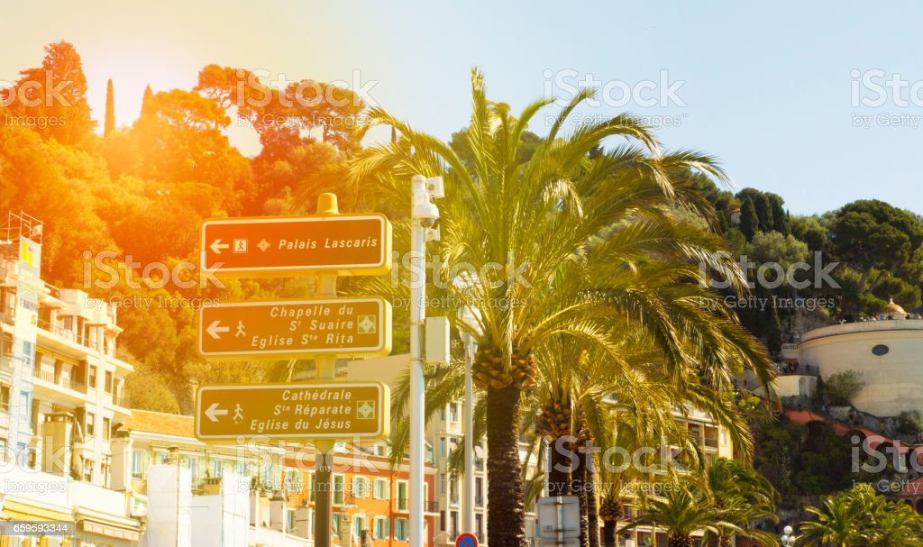 summer street in France, palms, beach stock photo